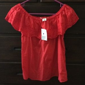 NWT H&M sleeveless off shoulder lace top Sz 2 red